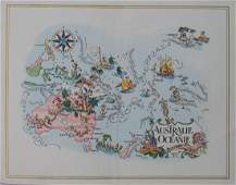 PanAm Vintage Pictorial Map of Australia & Oceania 1960
