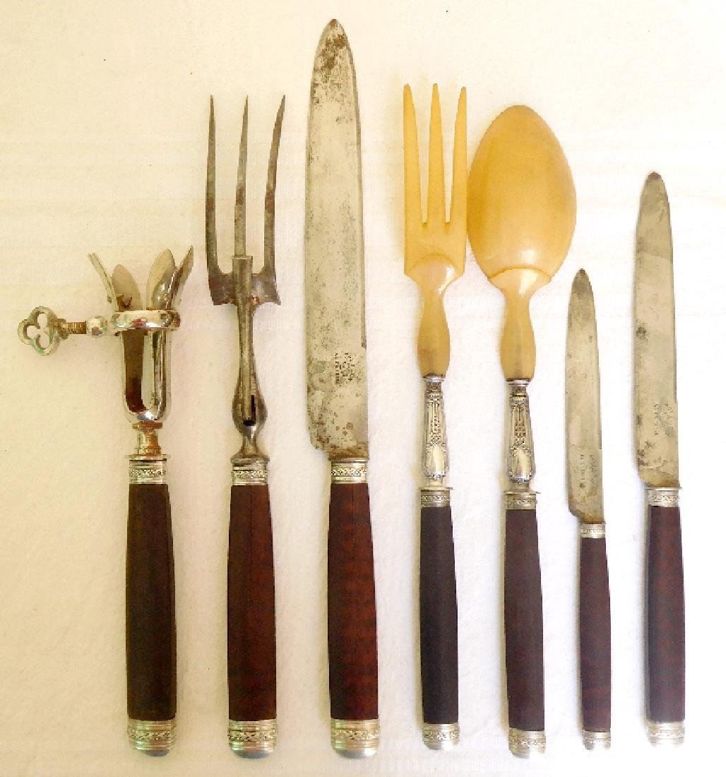 Antique French Silver Mahogany Cutlery Set, 29 Pieces - 2