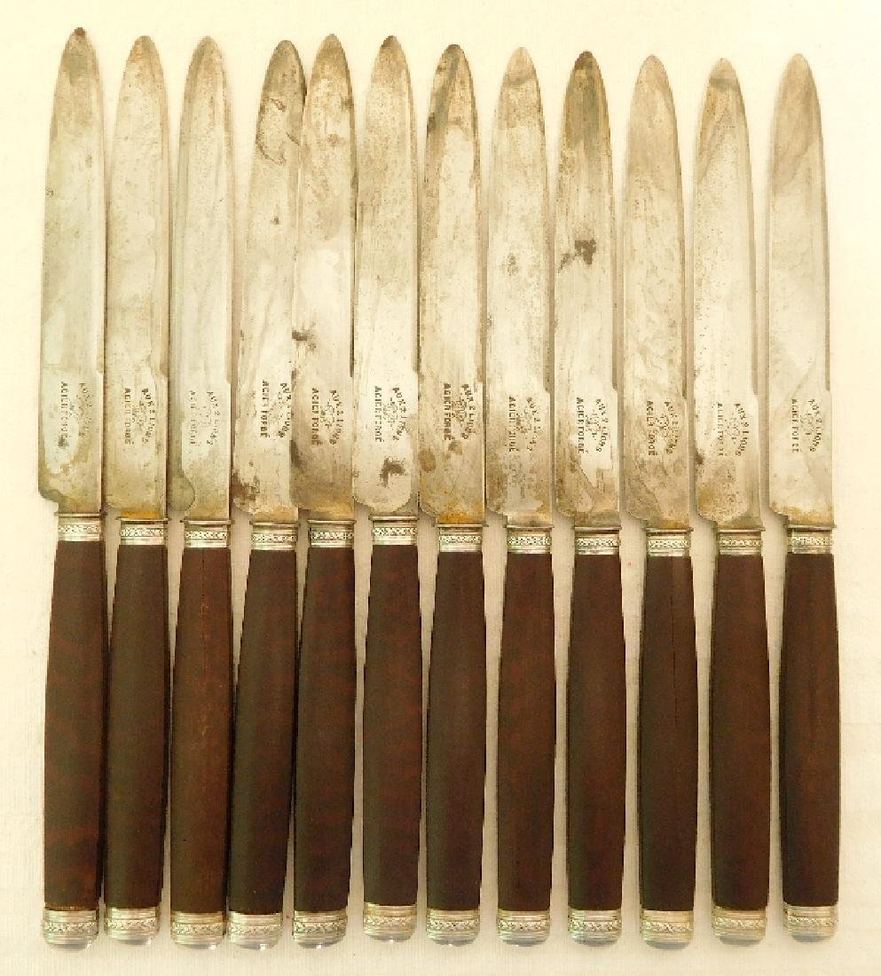 Antique French Silver Mahogany Cutlery Set, 29 Pieces - 9