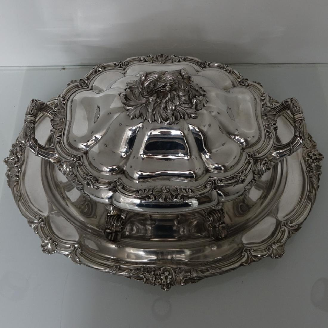 Antique William IV Old Sheffield Silver Soup Tureen - 3