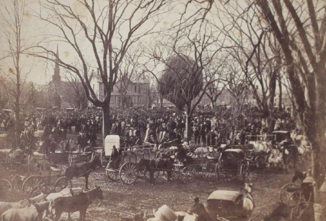 1860s Crowd Surrounds Early Hot Air Balloon Ascension