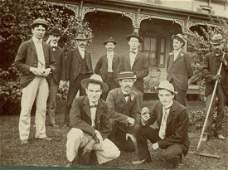 1900 9 Baseball Players in Yard Groundsman Ball