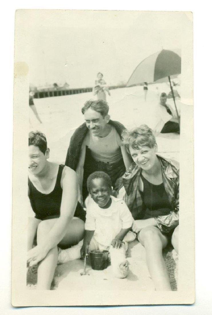 1930 African American Boy in Double Leg Casts at Beach - 2