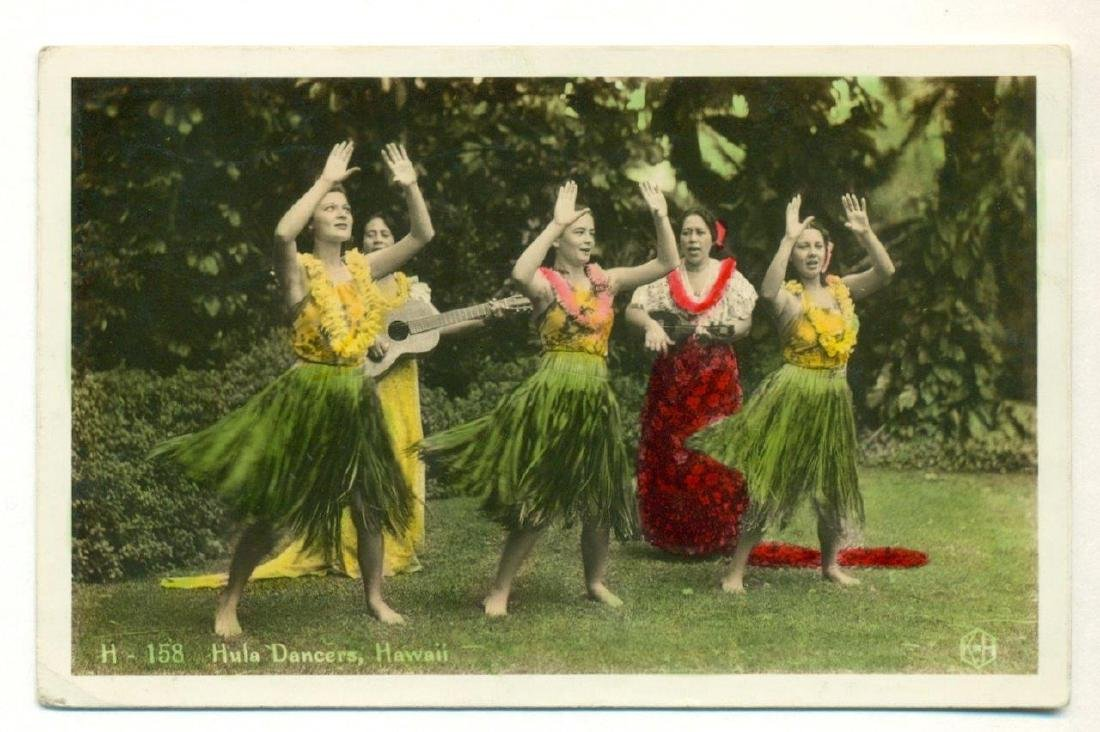 1946 Hawaiian Hula Dancers in Grass Skirts Photograph