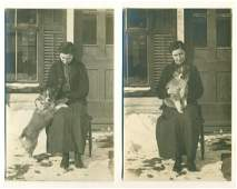 Lot of 2 Ca. 1930 Woman Seated on Chair Snow Pet Puppy