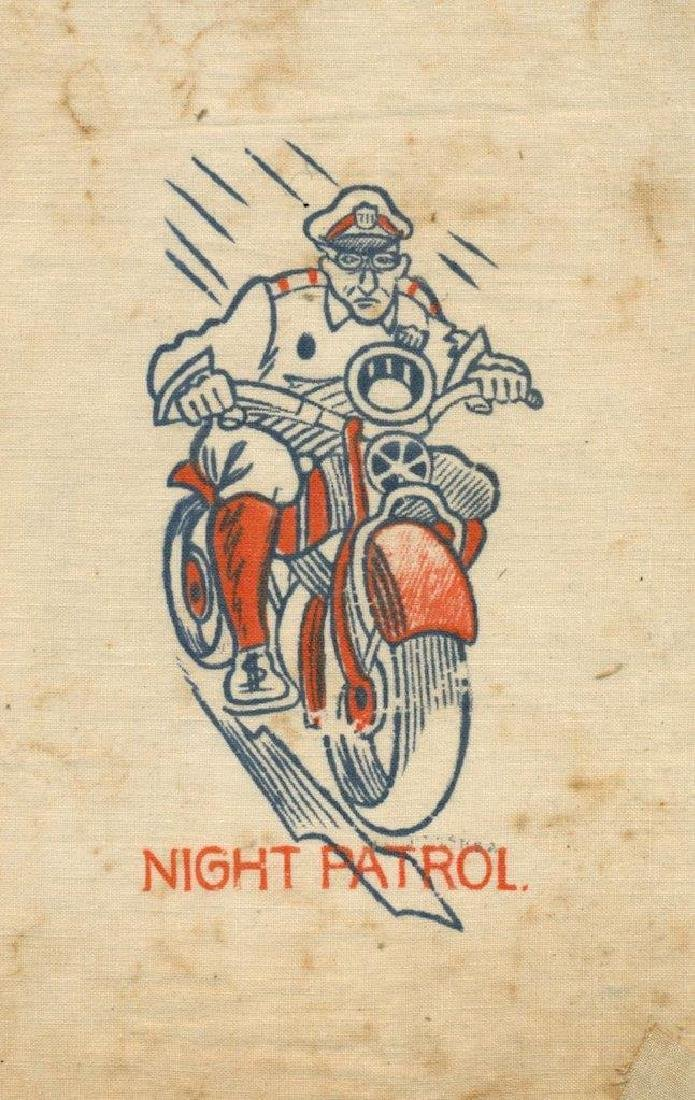 1930 Police Officer in Uniform on Motorcycle Caricature