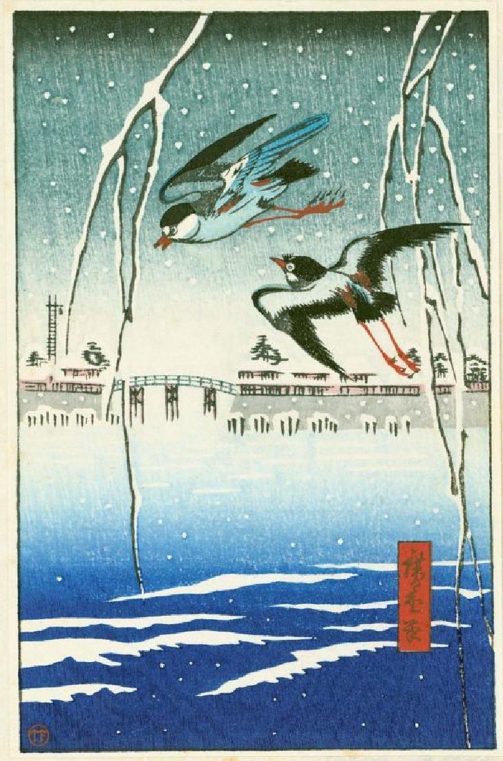 Ando Hiroshige Woodblock Birds in Flight in Snow