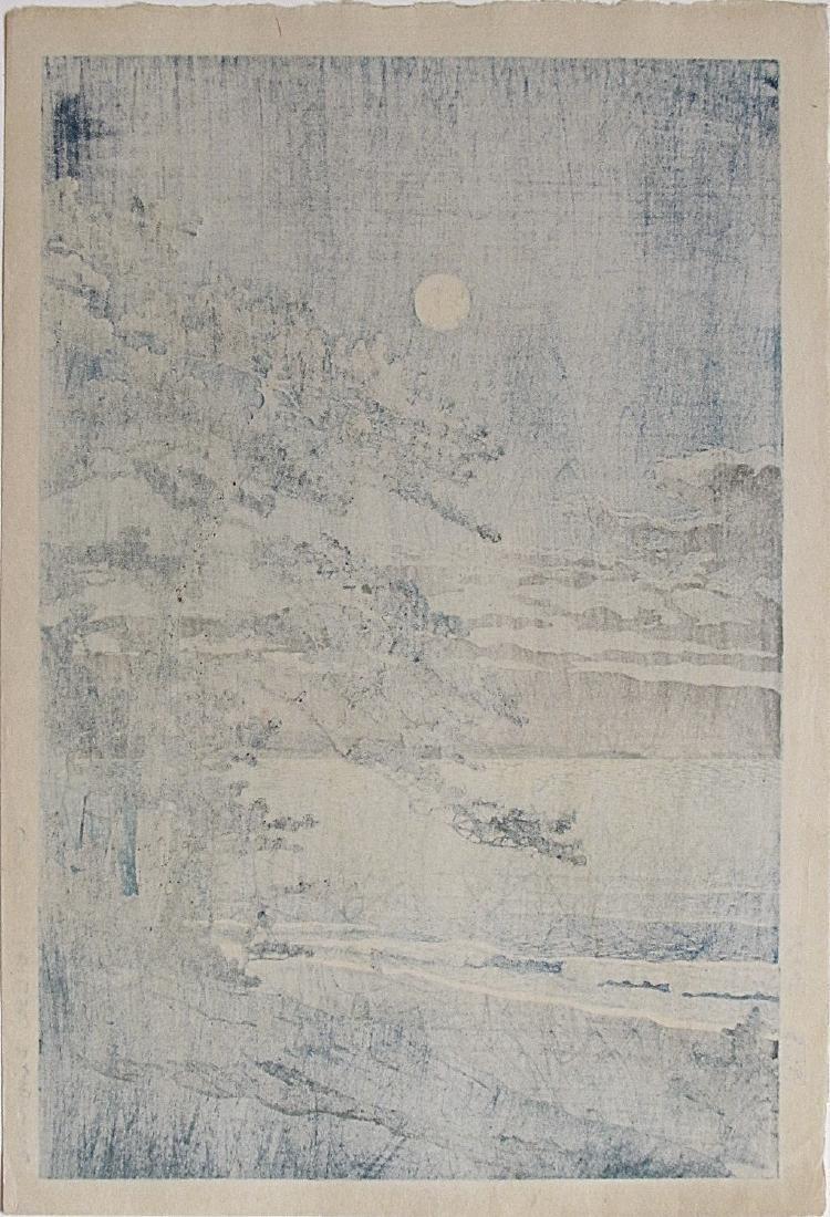 Hasui Kawase Woodblock Spring Moon, Ninomiya Beach - 2