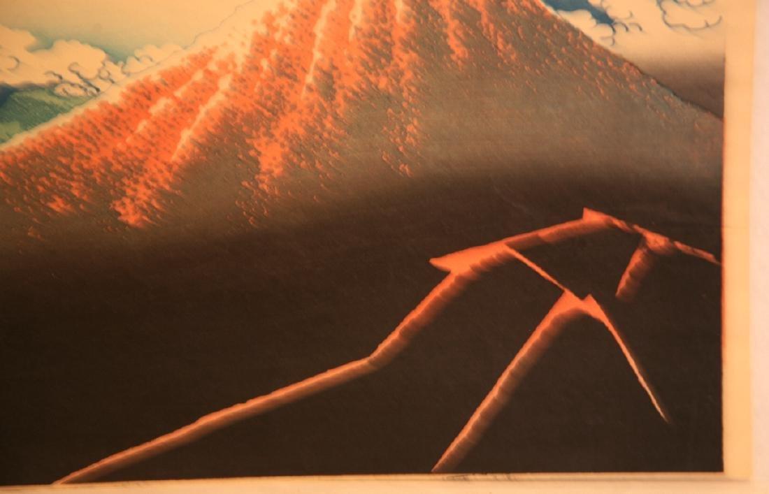 Hokusai Katsushika Woodblock Rainstorm Beneath Summit - 7