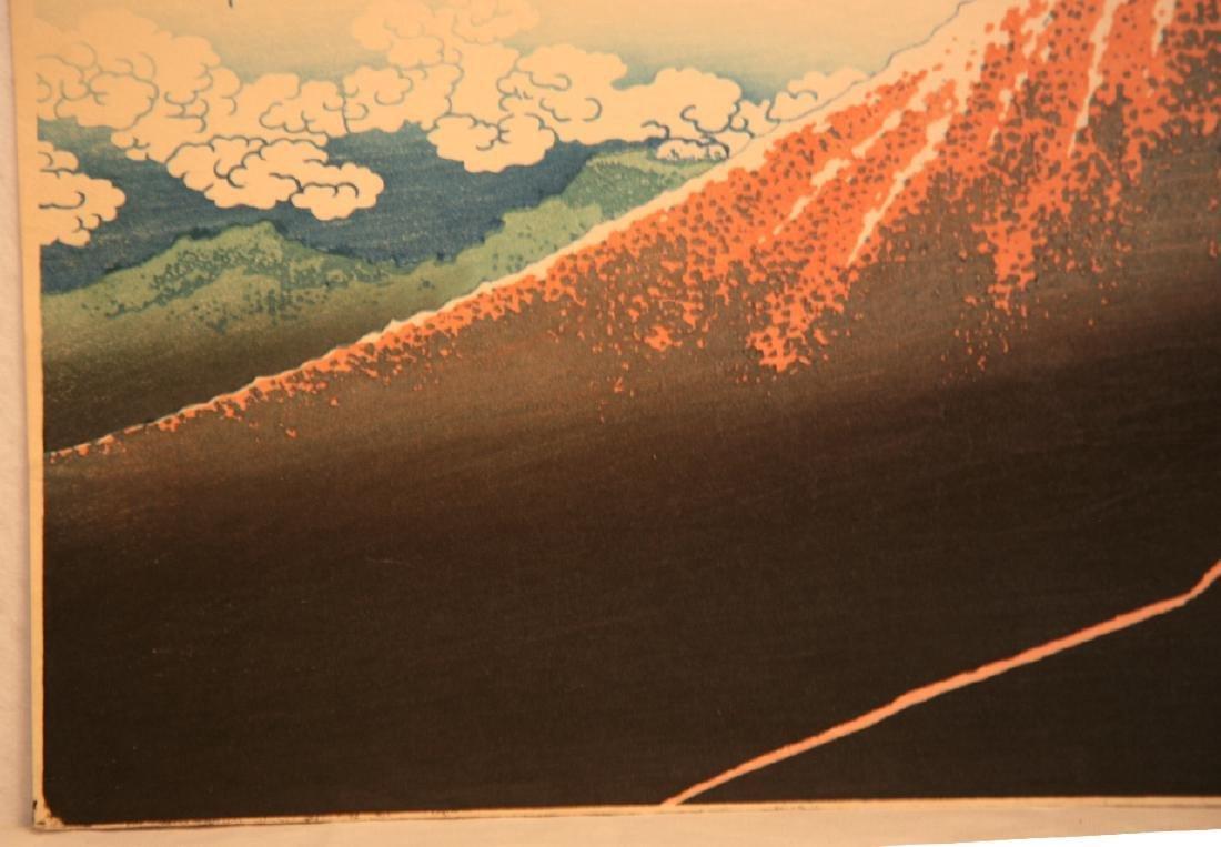 Hokusai Katsushika Woodblock Rainstorm Beneath Summit - 9