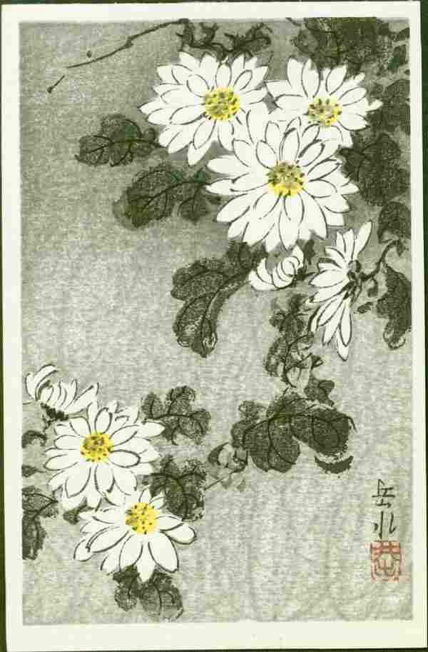 Ide Gakusui Woodblock Chrysanthemums