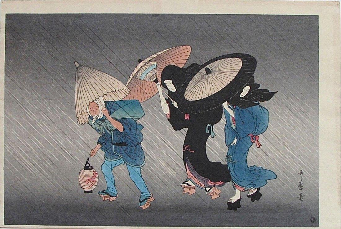 Kitagawa Utamaro Woodblock People in the Rain