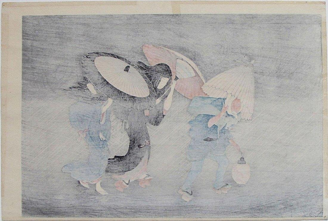 Kitagawa Utamaro Woodblock People in the Rain - 2