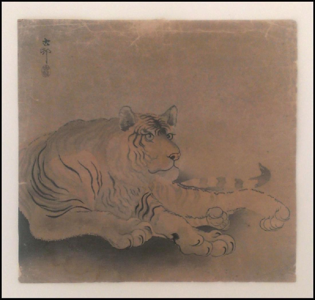 Ohara Koson Woodblock Reclining Tiger