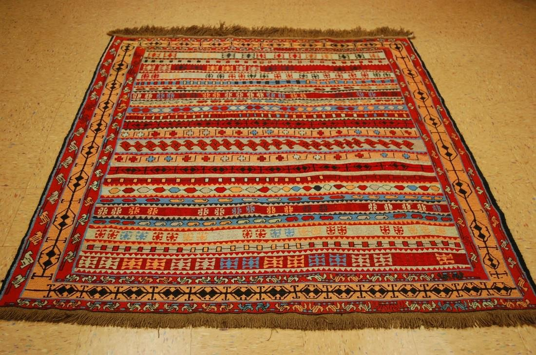 Fine Highly Detailed Caucasian Soumak Kilim Rug 5.2x6