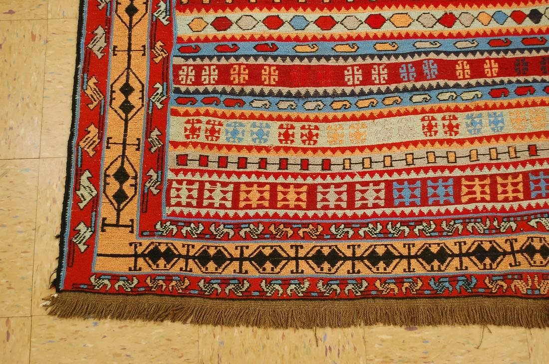 Fine Highly Detailed Caucasian Soumak Kilim Rug 5.2x6 - 3