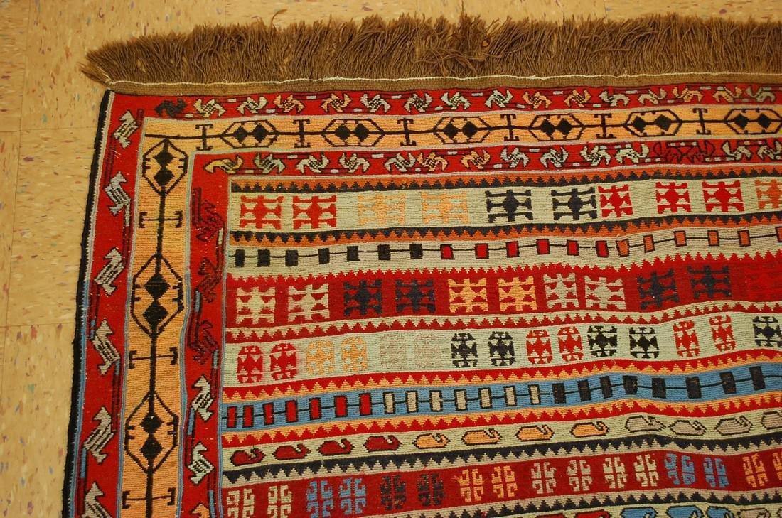 Fine Highly Detailed Caucasian Soumak Kilim Rug 5.2x6 - 4