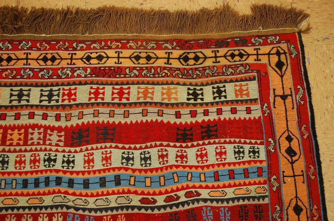 Fine Highly Detailed Caucasian Soumak Kilim Rug 5.2x6 - 5