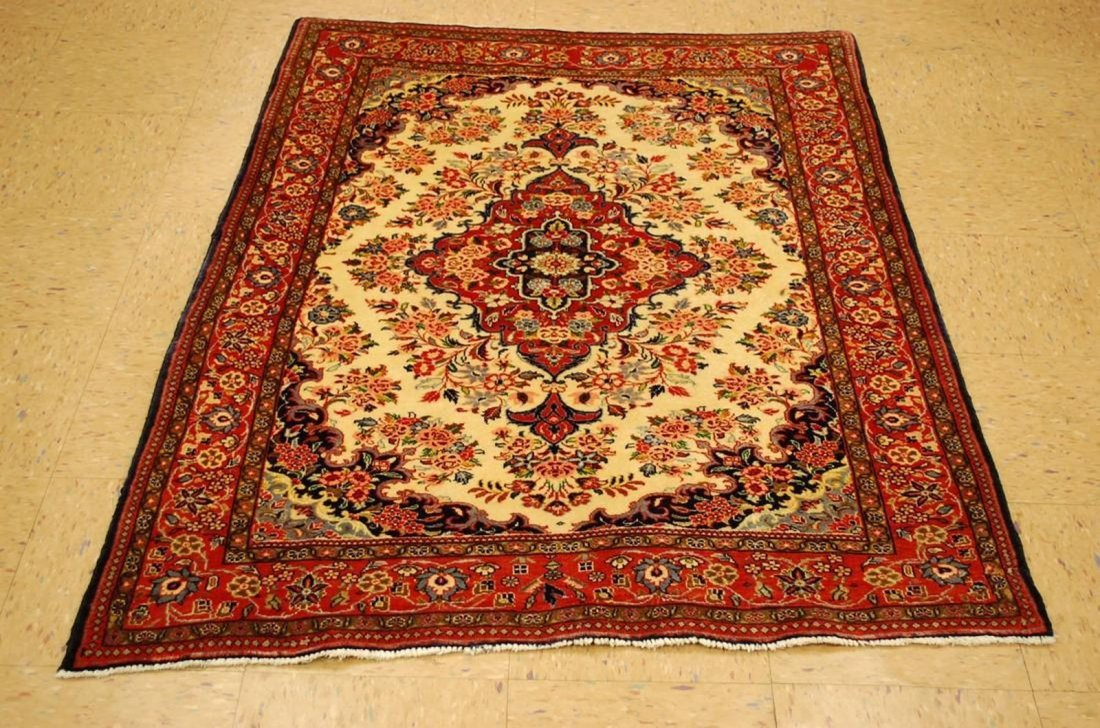 Highly Detailed Kork Wool Persian Bijar Rug 3.9x5