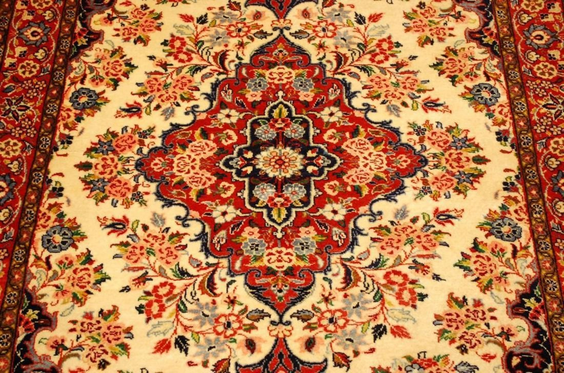 Highly Detailed Kork Wool Persian Bijar Rug 3.9x5 - 2