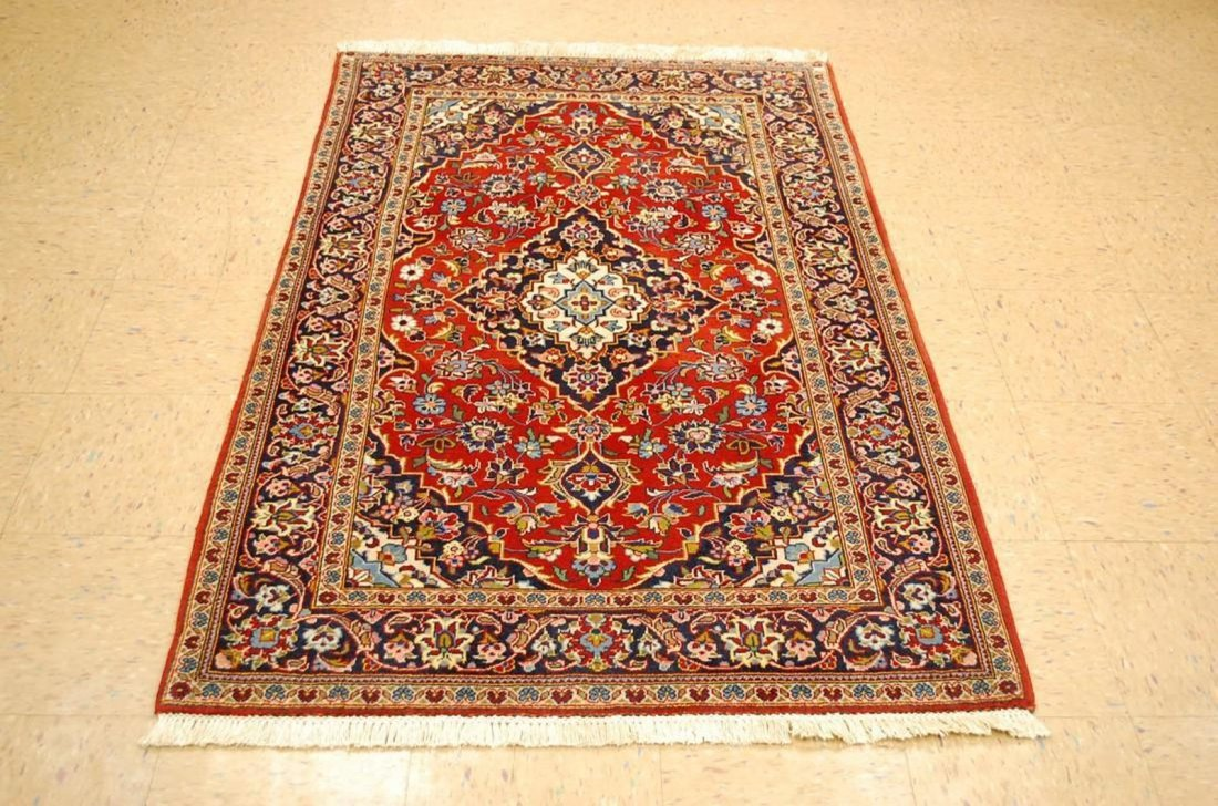 Quality Kork Wool Persian Kashan Rug 3.8x5.10