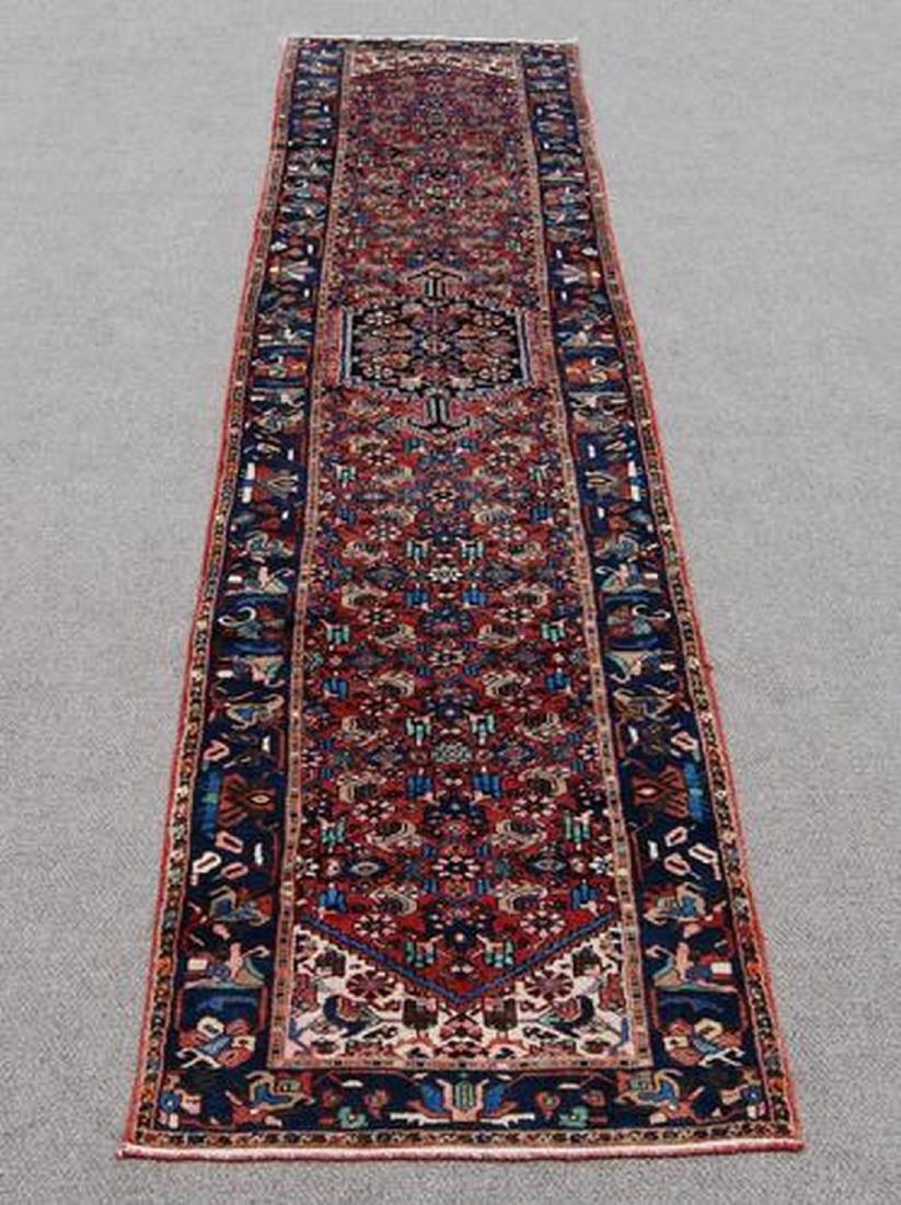 Handmade Persian Zanjan Runner Rug 3.7x16.5