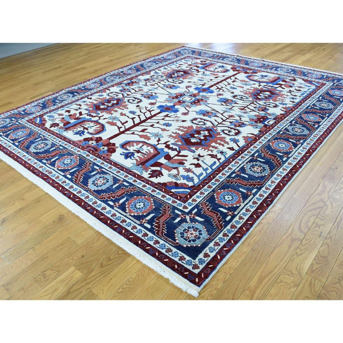 Thick Heriz Hand Knotted Pure Wool Rug 8.4x10.1 - 3