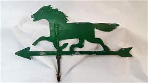 Green Painted Sheet Iron Horse Weathervane Circa 1930.