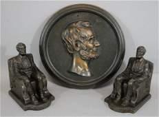 19th Century Abraham Lincoln, Bronzed Cast Iron Plaque