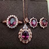 Sterling Silver Garnet Three Piece Jewelry Set, 1ct