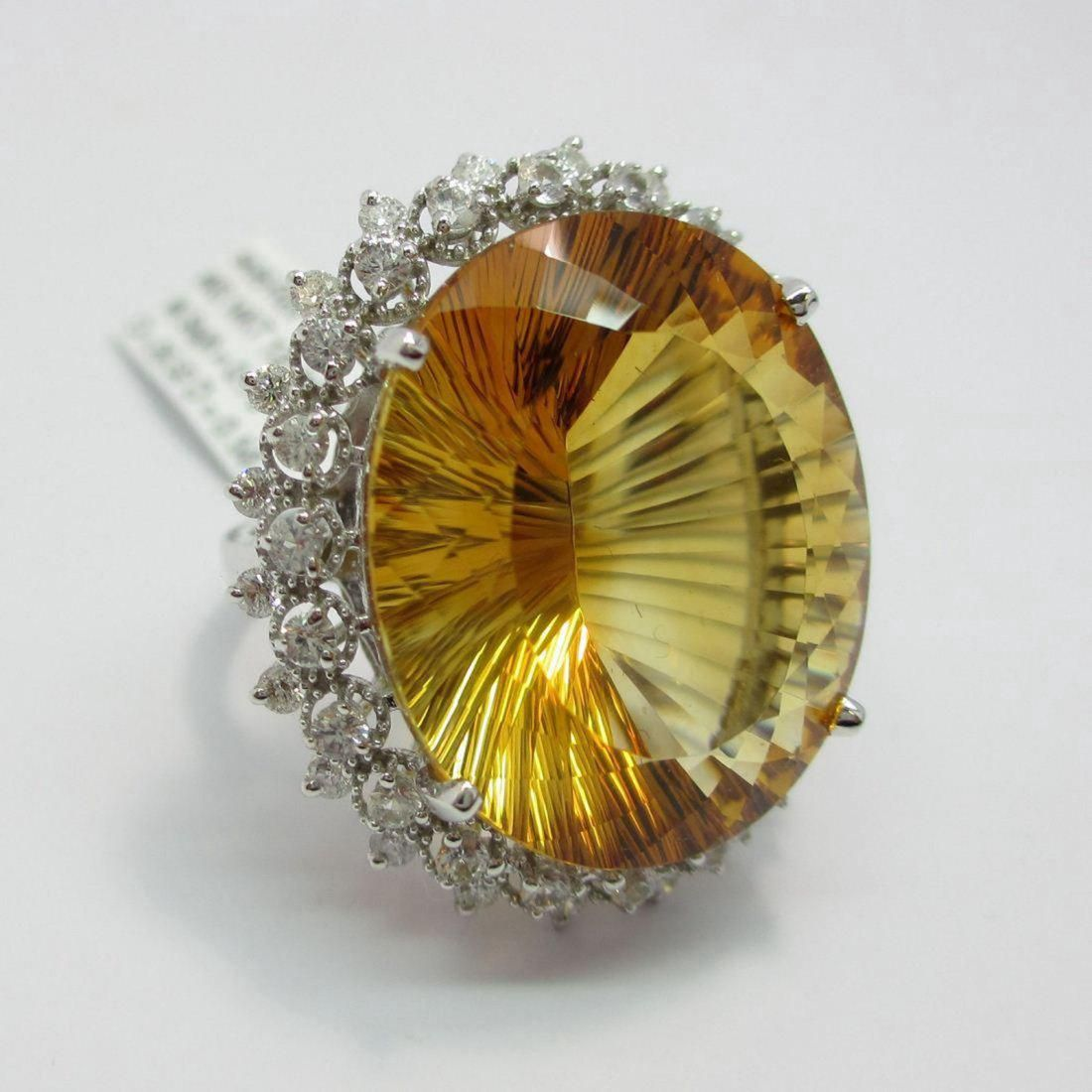 Ladies 14K Gold Citrine/Sapphire/Diamond Ring, 27.85ct