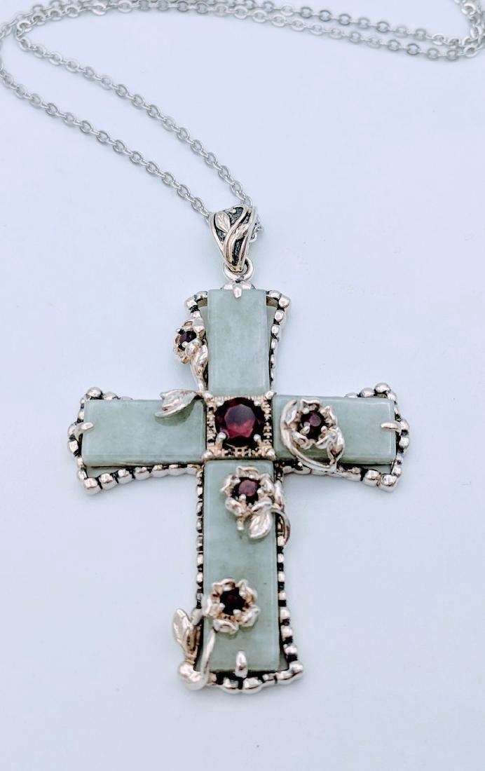 Sterling Silver Jade Red Garnet Necklace