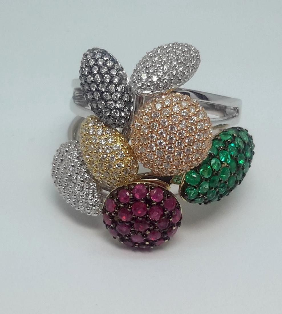 Ladies 18K White Gold Diamond/Ruby/Emerald Ring, 2.5ctw