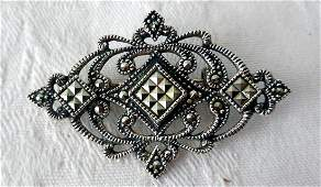 Antique Sterling Silver Marcasite Brooch 19101920