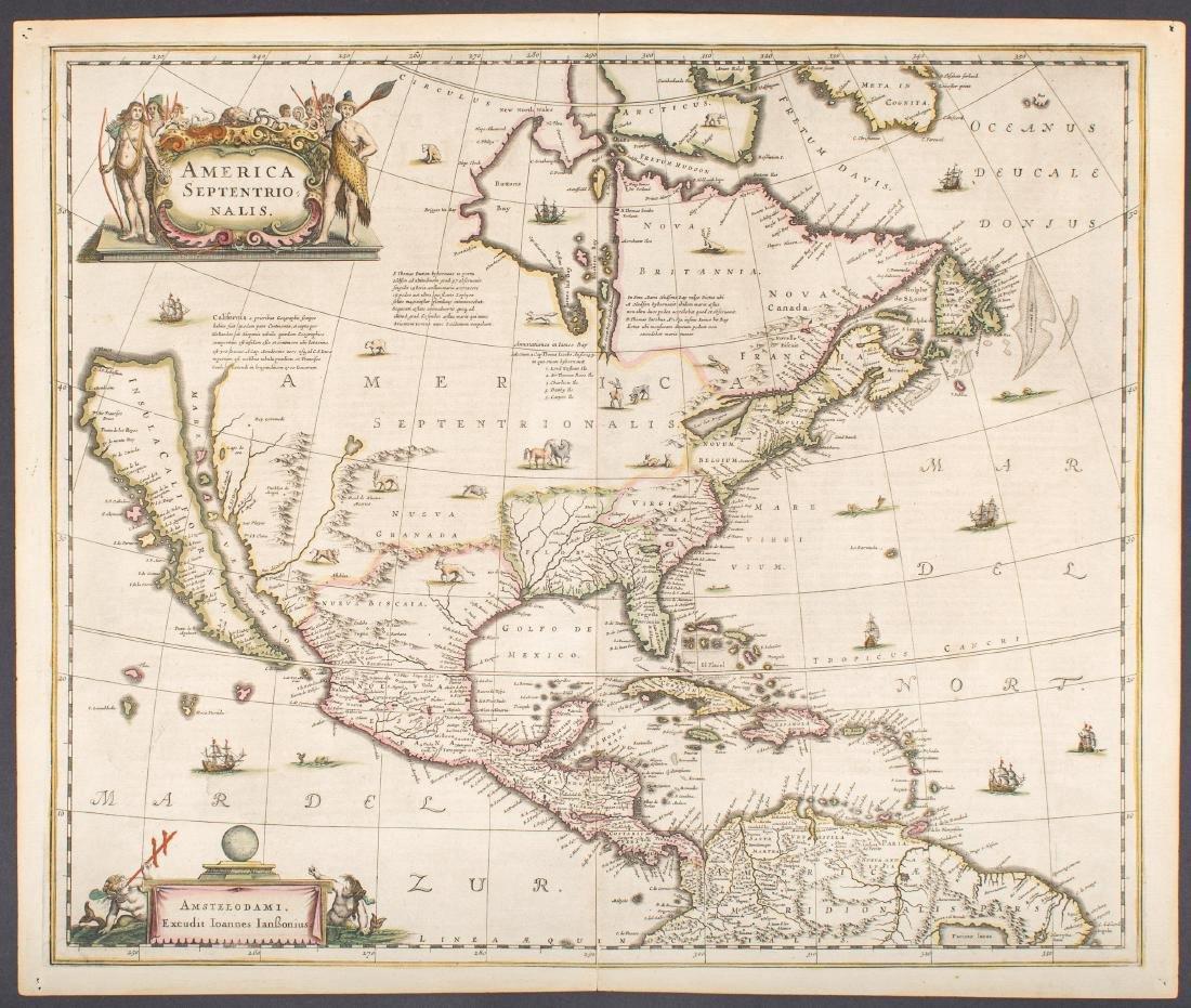 Antique Map Of North America.Hondius Janssonius Antique Map Of North America 1647