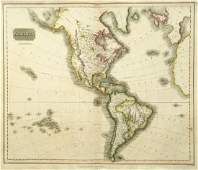 Thomson: Antique Map of The Americas, 1816