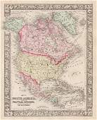 Mitchell: Antique Map of North America, 1860