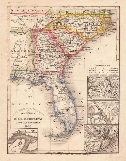 Antique Map Of Florida.Meyer Antique Map Of Carolinas Georgia Florida 1846