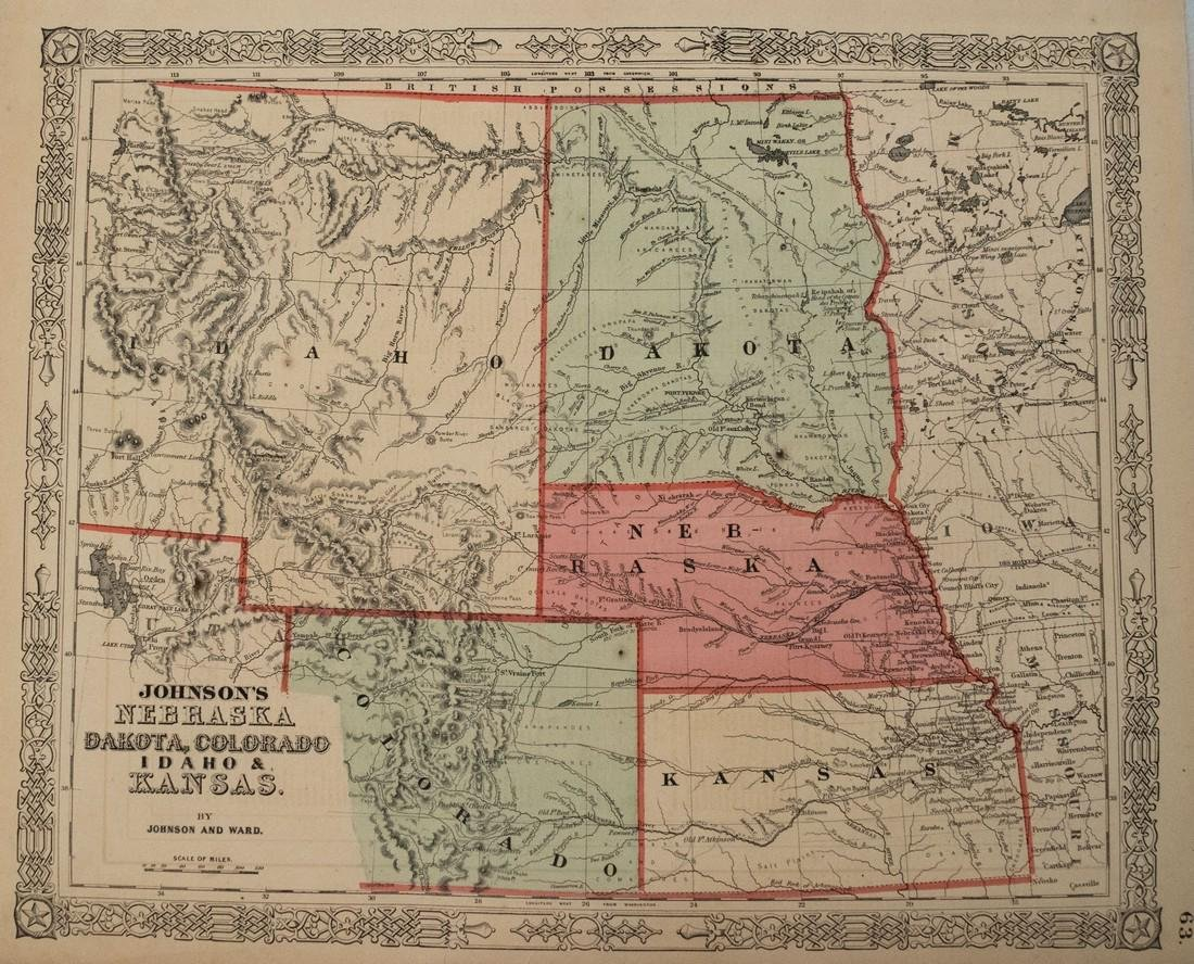 Johnson: Map of Nebraska Dakotas Idaho Kansas, 1864