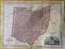 Johnson: Antique Map of Ohio, 1868