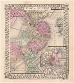 Mitchell: Antique Map, City Plan of Boston, 1870