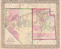 Mitchell: Antique Map of Utah & Nevada, 1870