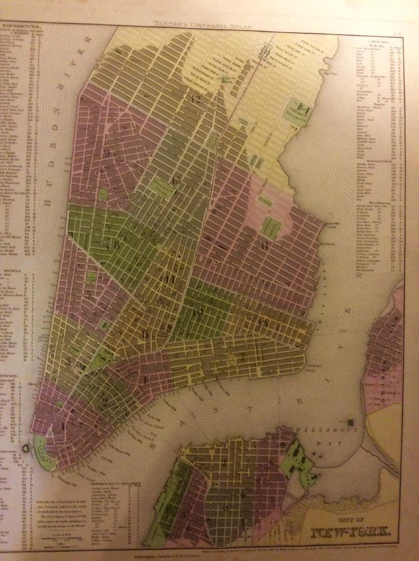 Tanner: Antique Map of New York City, 1843