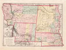 Hardesty: Antique Map Nebraska Dakota Montana Wyoming