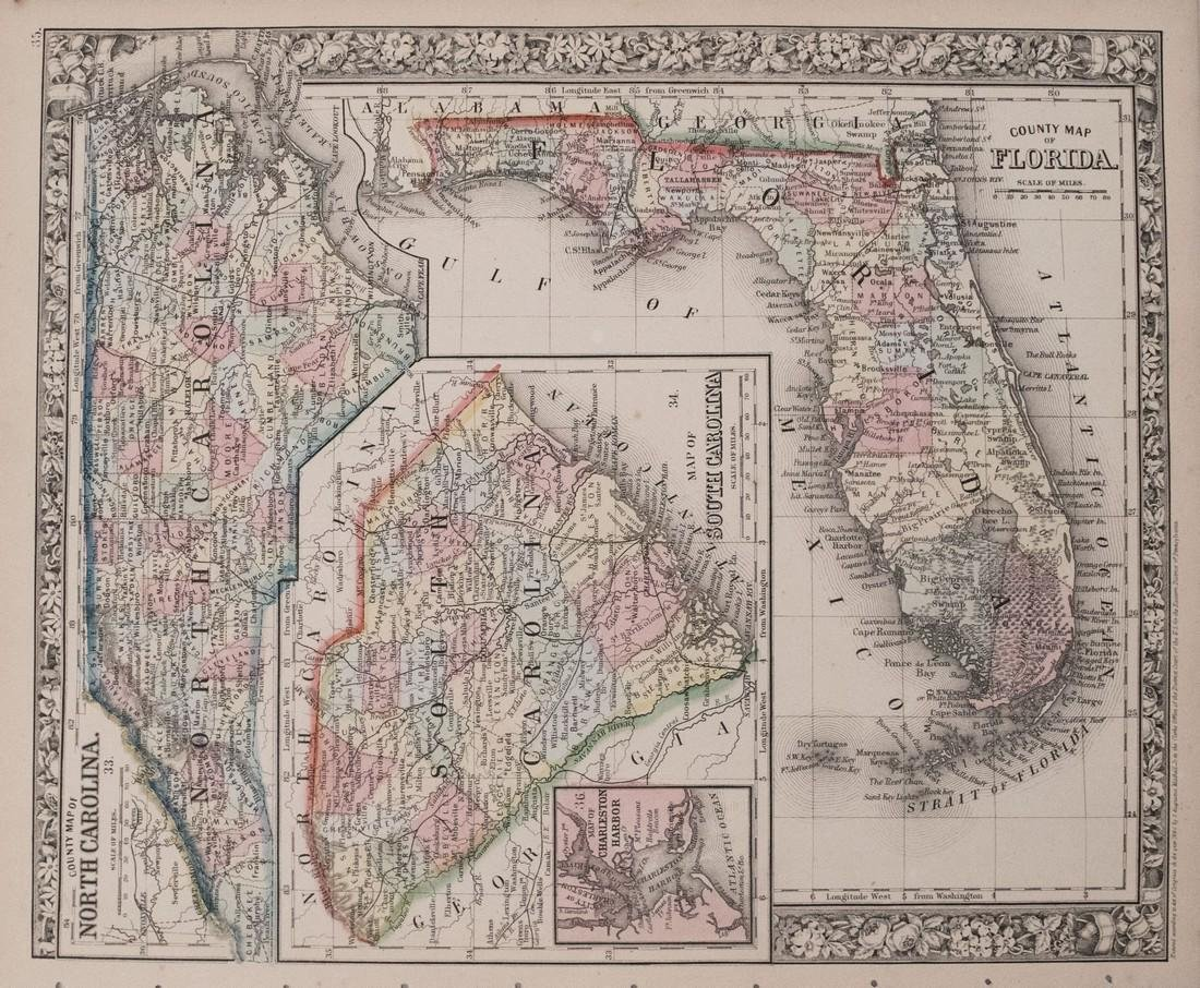Antique Map Of Florida.Mitchell Antique Map Of Florida South North Carolina