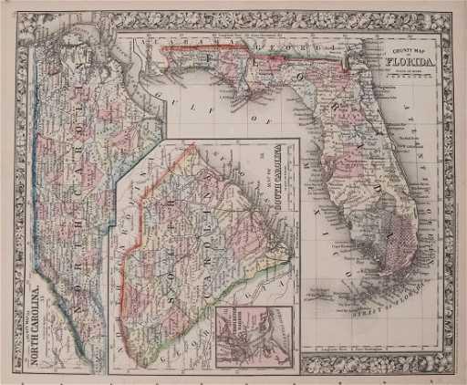 Antique Map Of Florida.Mitchell Antique Map Of Florida South North Carolina