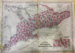 Johnson: Set of 2 Antique Maps of Ontario/New FoundLand