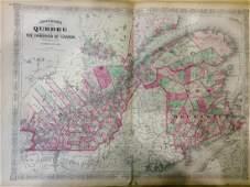 Johnson: Antique Map of Canada Quebec Reserve, 1868