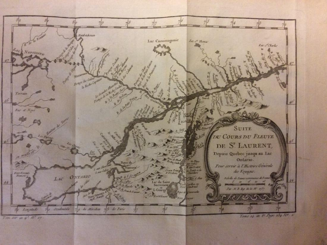 Bellin: Antique Map of Canada's St Laurence River, 1740
