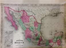 Johnson Antique Map of Mexico 1868